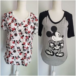 Minnie red top Mickey mouse skeleton black…